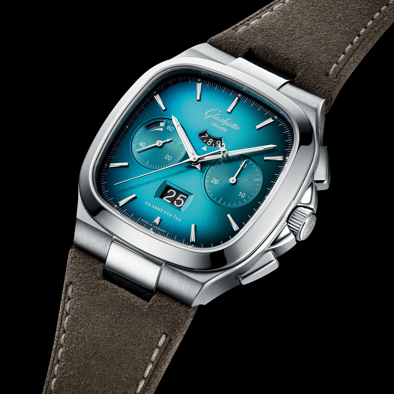 Glashutte Original Seventies Chronograph Panorama Date 2021 Limited Editions bright turquoise gradient - 2