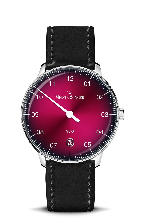 Meistersinger Neo 36 Bordeaux red gradient dial