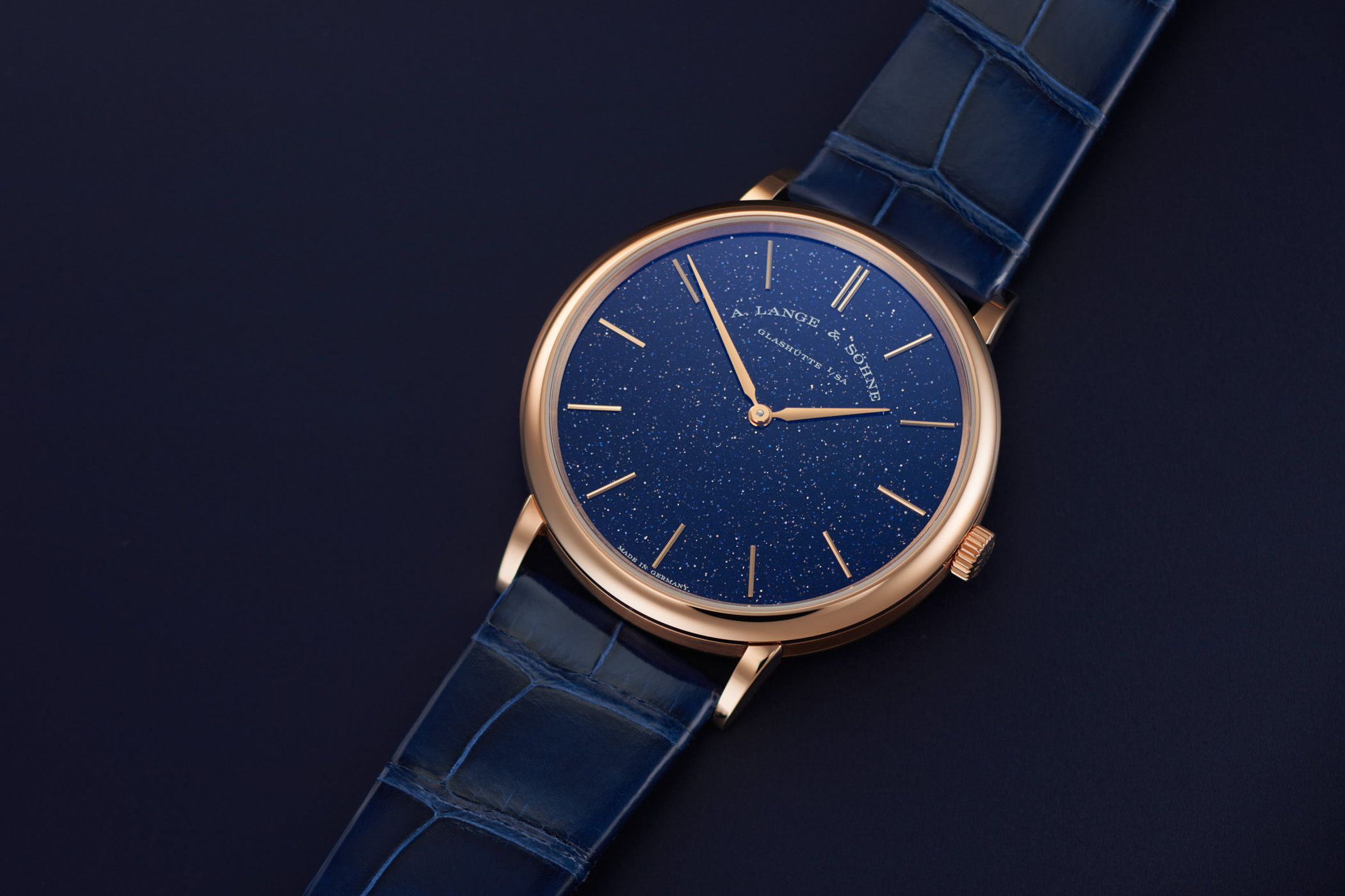 A Lange and Sohne Saxonia thin blue gold flux pink gold limited edition 211.088