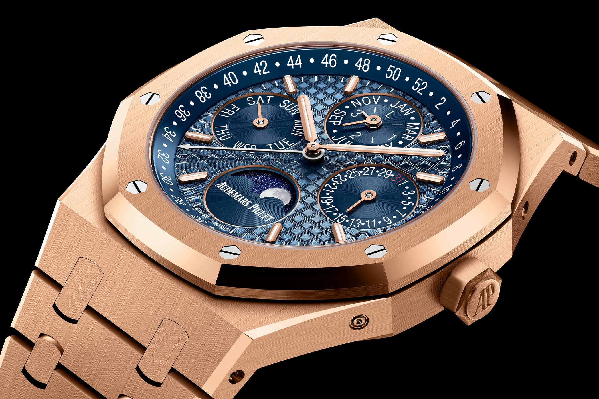 Audemars Piguet Royal Oak Perpetual Calendar 41mm pink gold new shade of blue 2021 - 26574OR.OO.1220OR.03