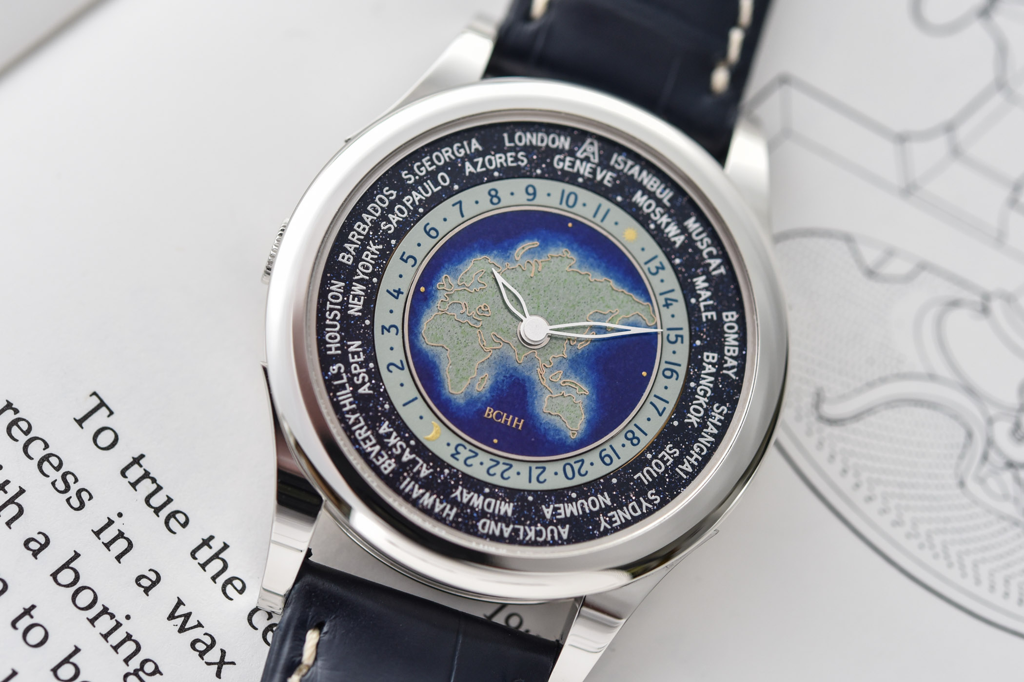 BCHH Celestial Voyager World Timer Cloisonne Enamel Andersen Geneve - 12