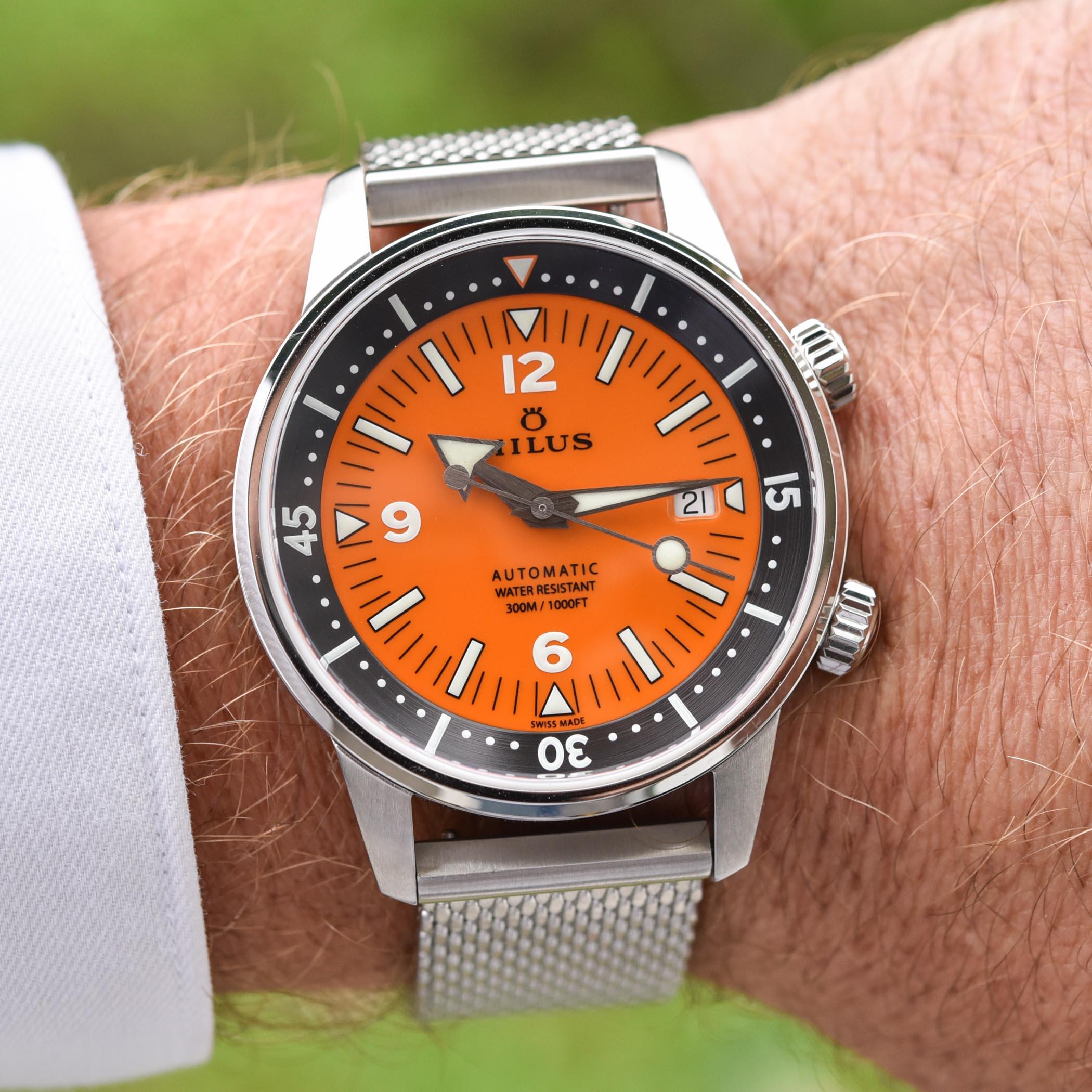 Milus Archimedes Orange Coral edition - super-compressor dive watch - 2