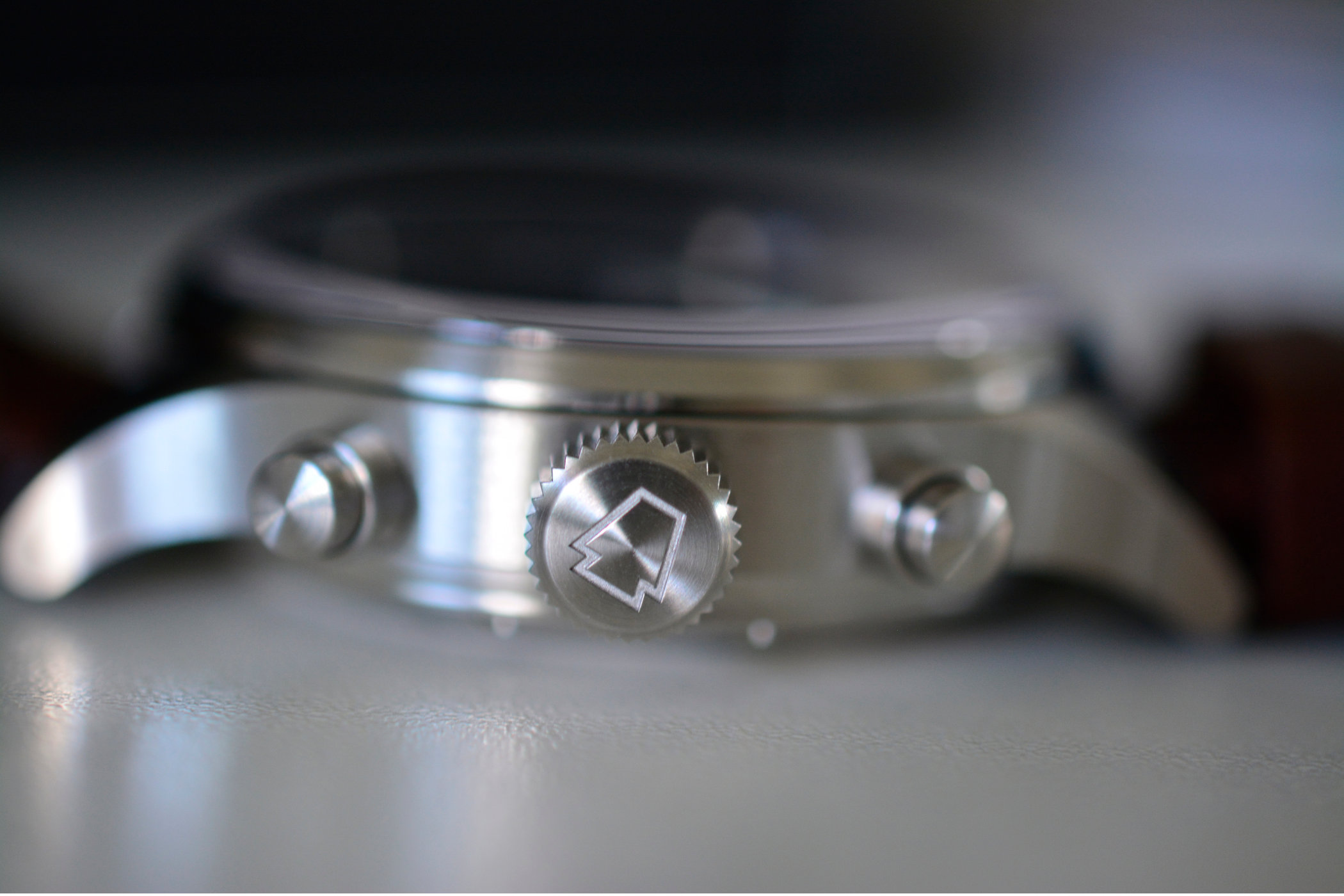 Crown and pushers for the RGM Model 600 Chronograph
