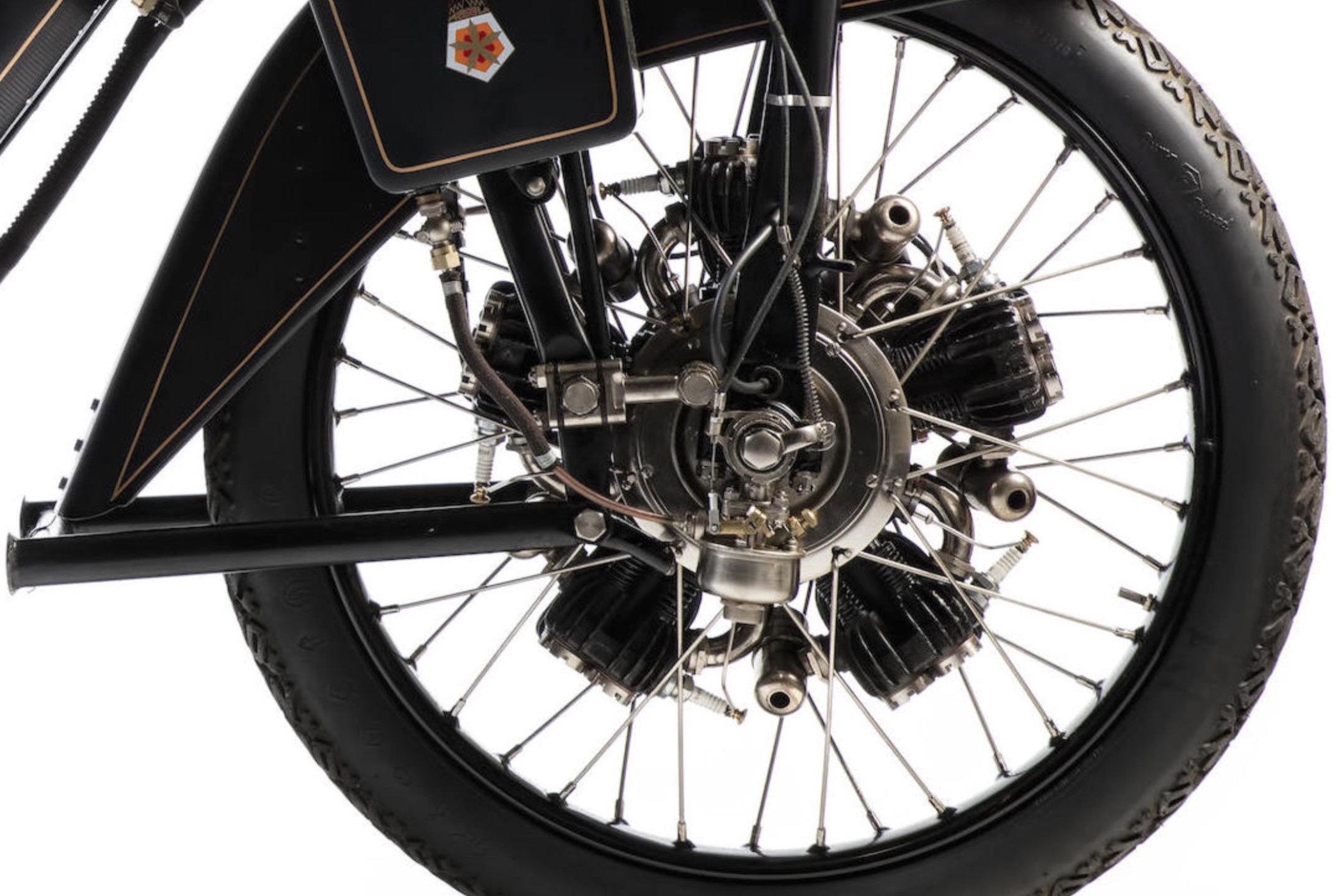 1922 Megola motorbike with front wheel mounted radial engine 3