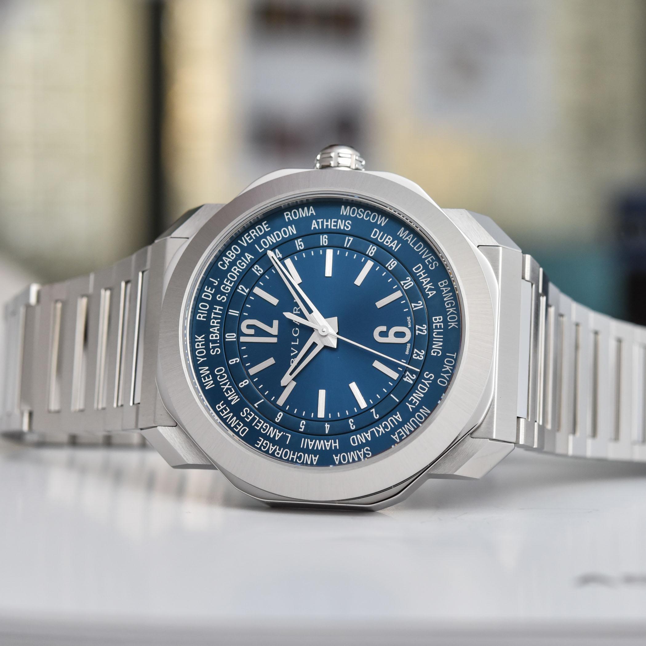 2021 Bulgari Octo Roma Worldtimer Steel Blue Dial