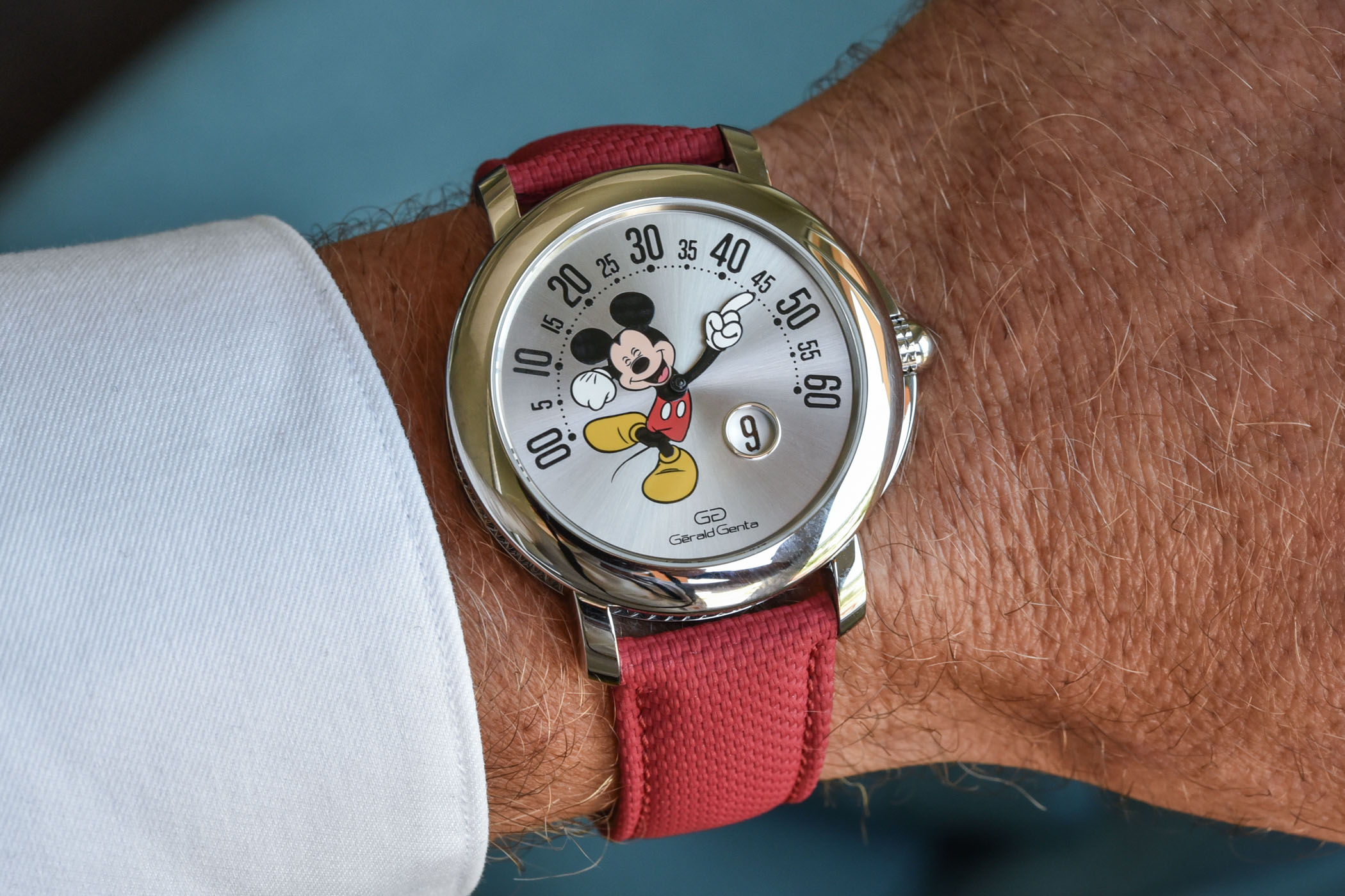 2021 Gerald Genta Arena Retrograde with Smiling Disney Mickey Mouse Limited Edition 103613