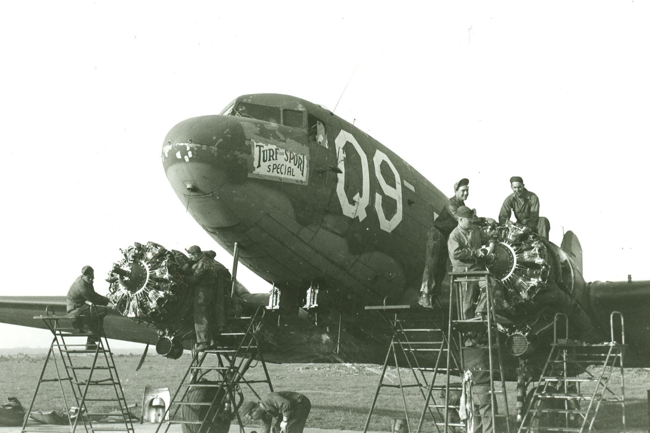 McDonnell Douglas C-47 Skytrain, using 4 Pratt & Whitney R-1830-90C 14-cylinder radial engines.