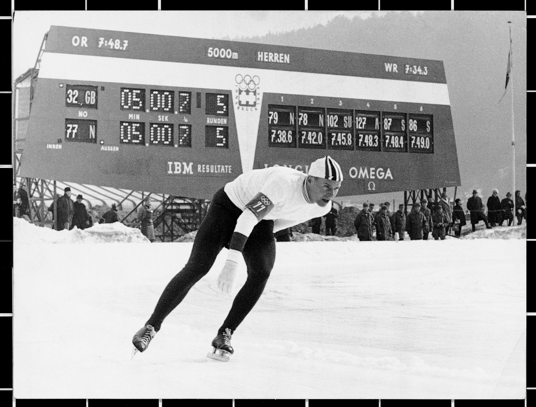 Timing board used during speed skating, Innsbruck 1964.