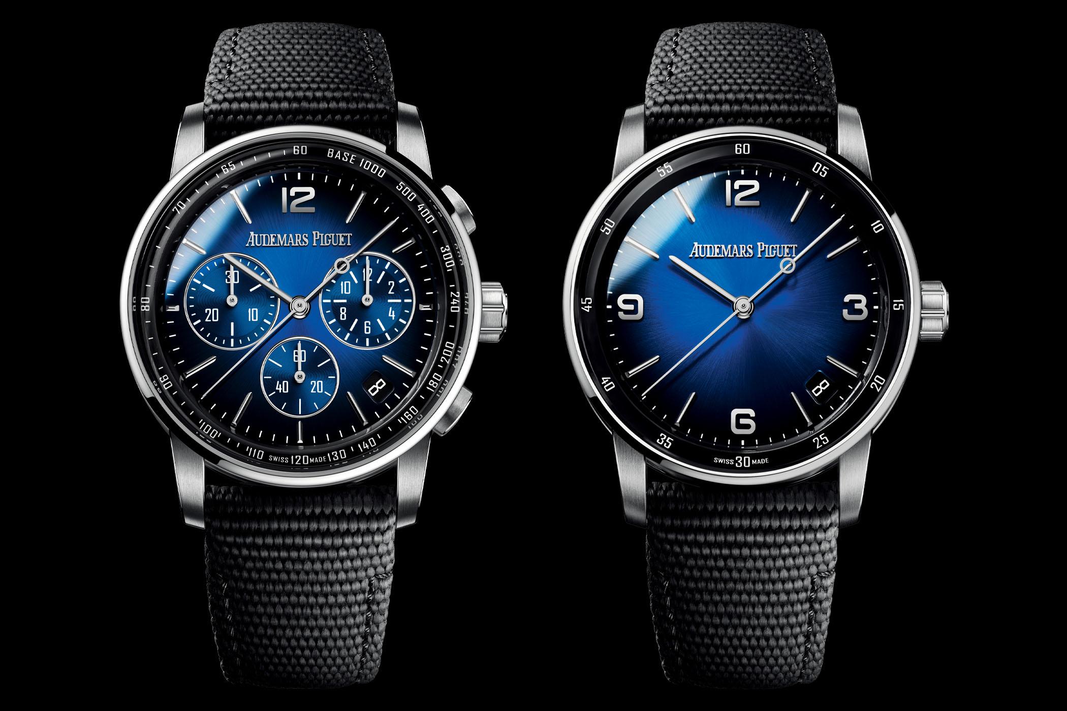 2021 Code 11.59 by Audemars Piguet Selfwinding and Chronograph White Gold Smoked Blue Dials