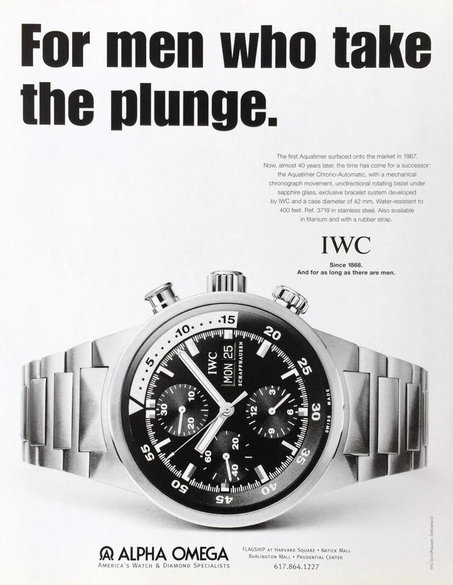 Retrospective Gunter Blumlein - IWC restructuration - IWC Adverts - 2