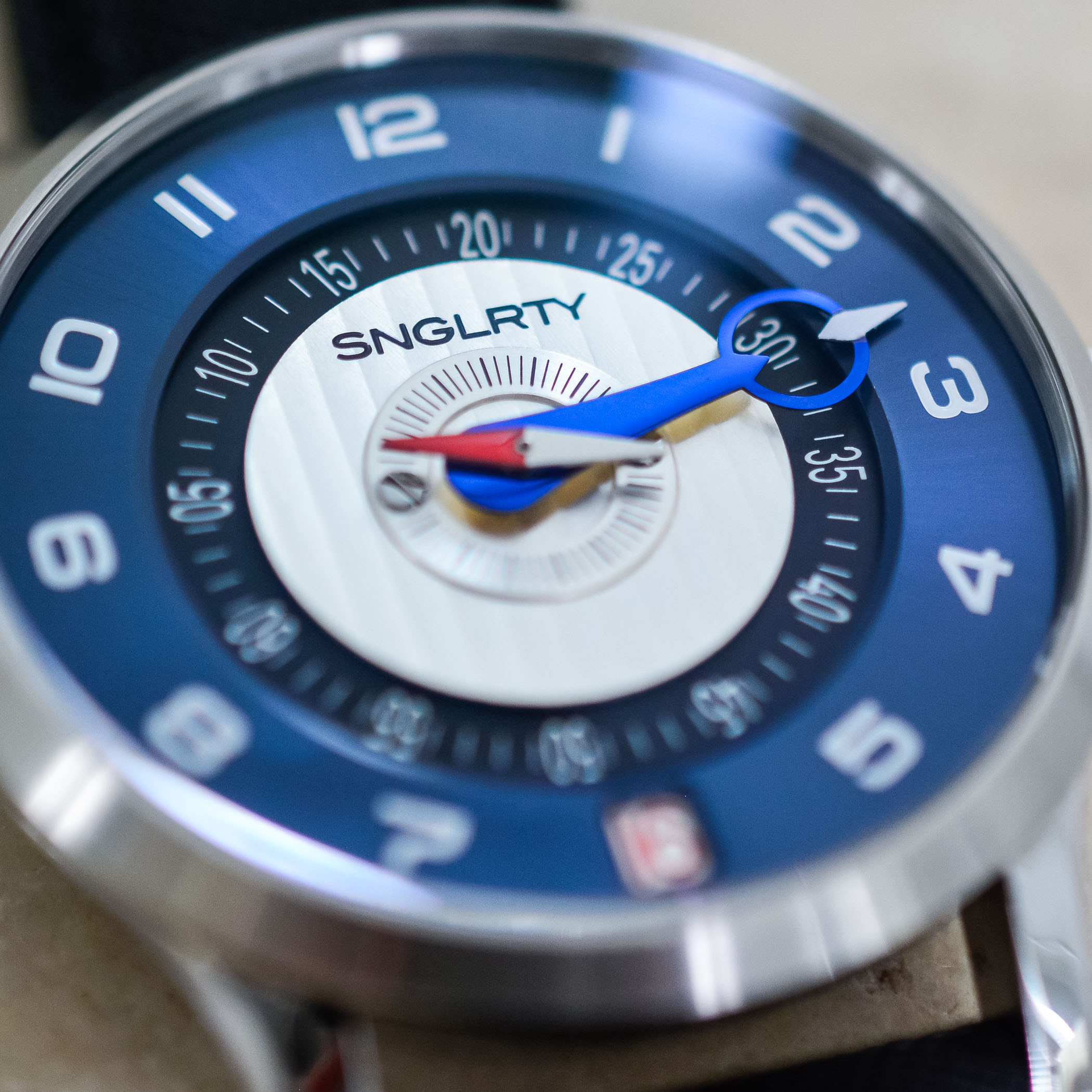 SNGLRTY Blue Steel OHI-4 patented display watch independent watchmaking