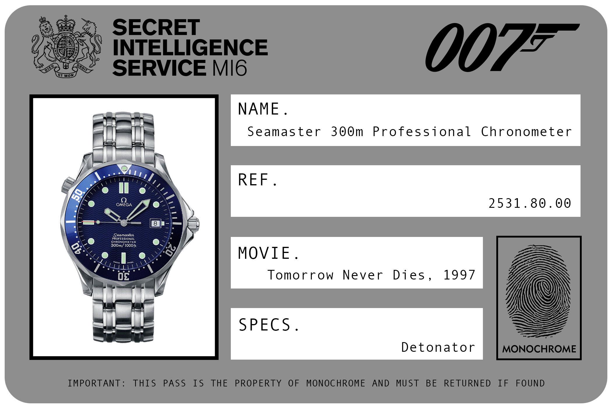 Omega Seamaster 300m Professional Chronometer Automatic 2521.80.00 James Bond Tomorrow Never Dies ID Card 1997