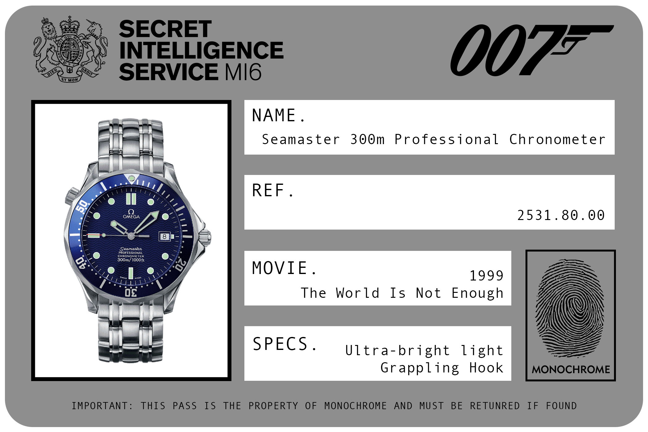 1999 - Omega Seamaster 300m Professional Chronometer Automatic 2521.80.00 James Bond The World Is Not Enough ID Card