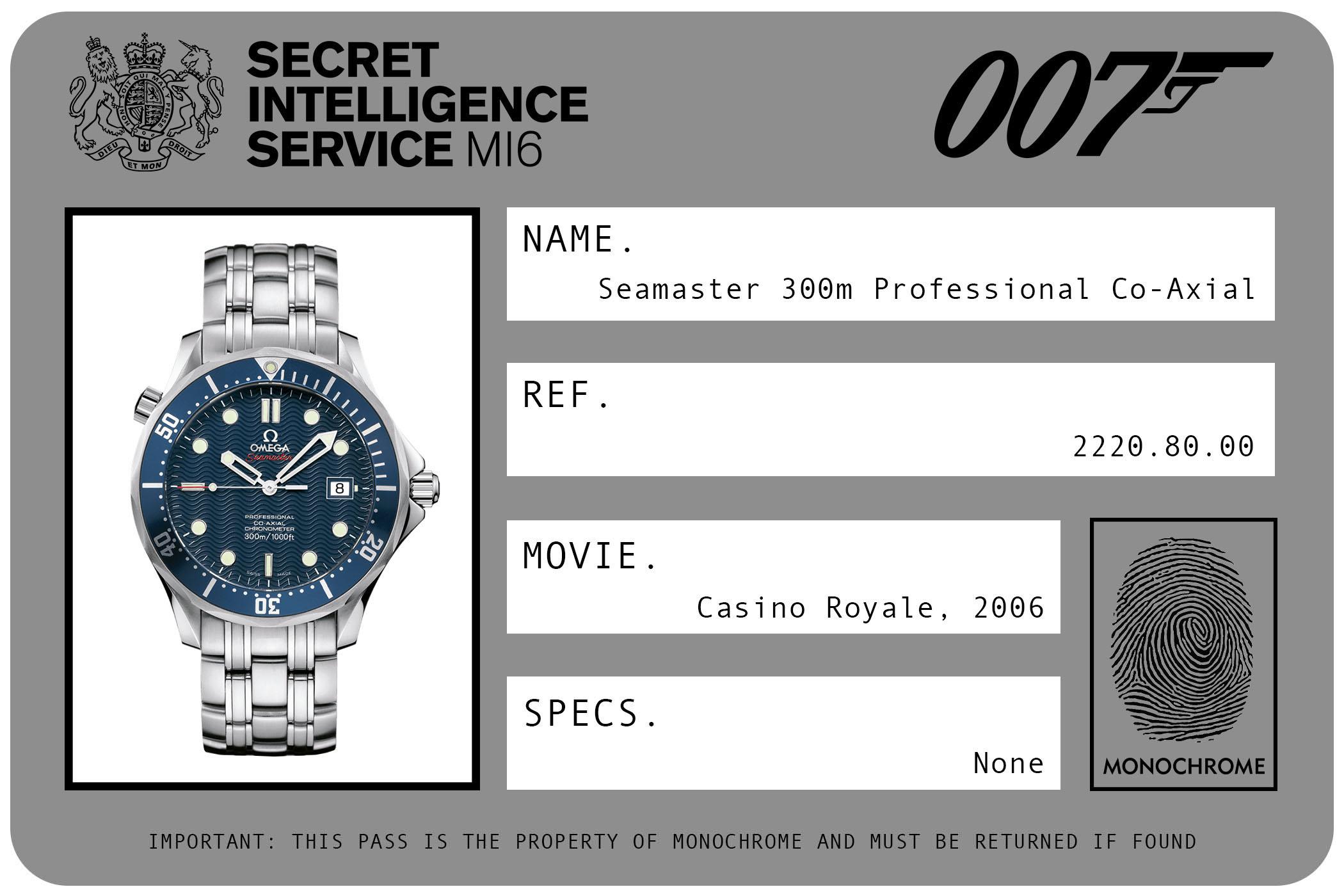 Omega Seamaster 300m Professional Co-Axial 2220.80.00 James Bond Casino Royale ID Card 2006