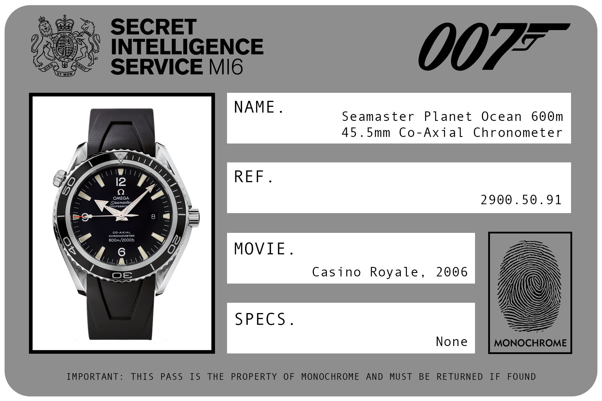 Omega Seamaster Planet Ocean 600m 45.5mm Co-Axial Chronometer 2900.50.91 James Bond Casino Royale ID Card 2006