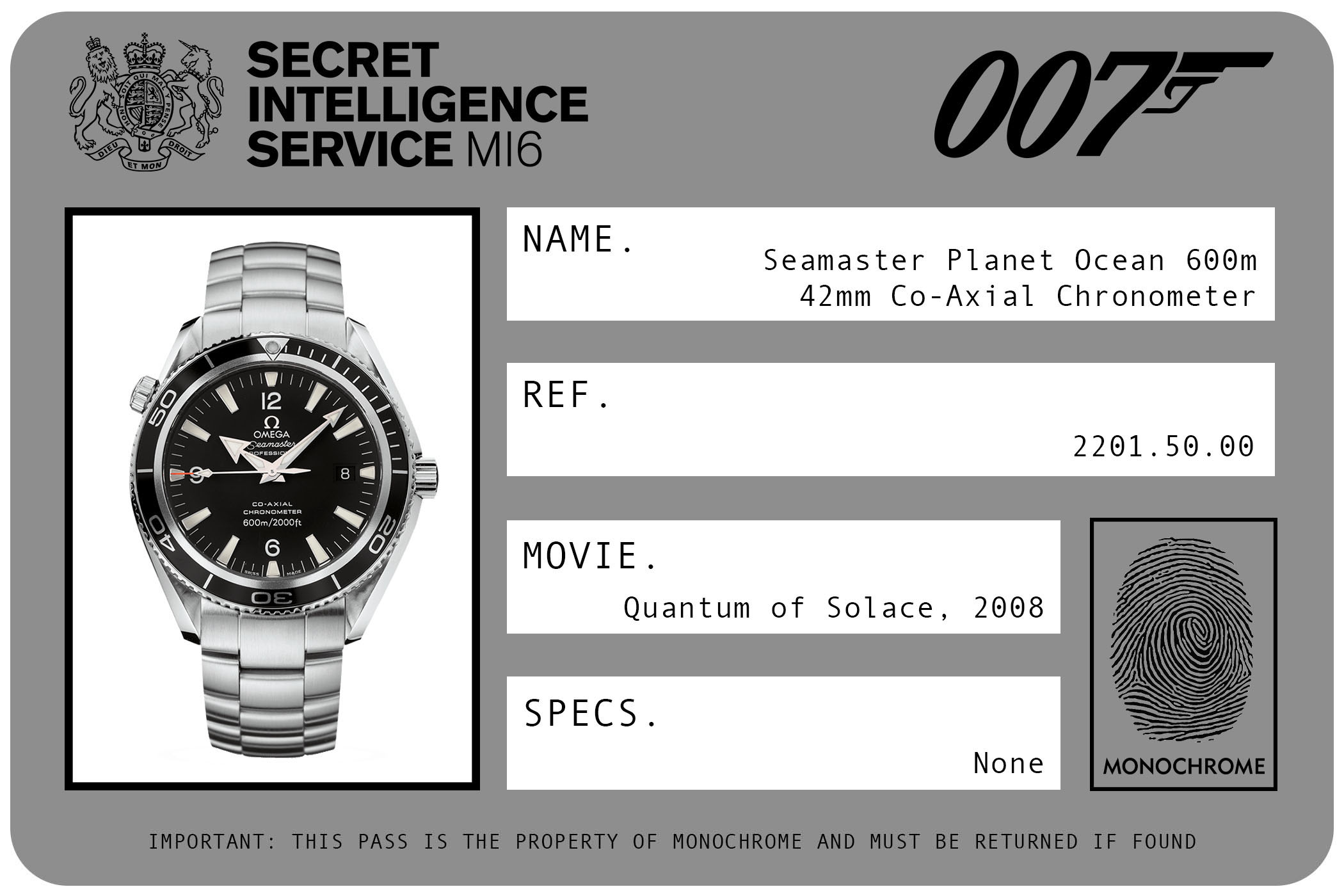 Omega Seamaster Planet Ocean 600m 42mm Co-Axial Chronometer 2201.50.50 James Bond Quantum of Solace ID Card 2008