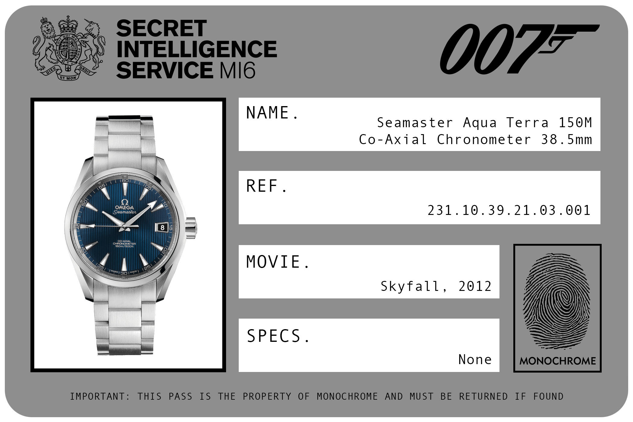 Omega Seamaster Aqua Terra 150M Co-Axial Chronometer 38.5mm 231.10.39.21.03.001 James Bond Skyfall ID Card 2012