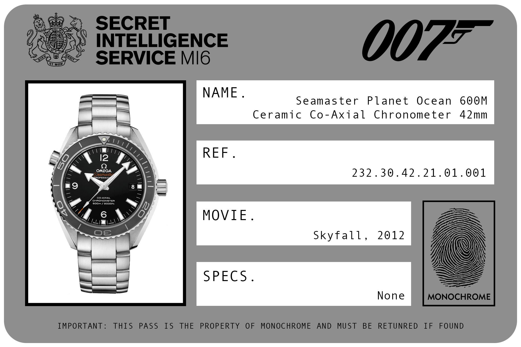 2012 - Omega Seamaster Planet Ocean 600M Ceramic Co-Axial Chronometer 42mm 232.30.42.21.01.001 James Bond Skyfall ID Card