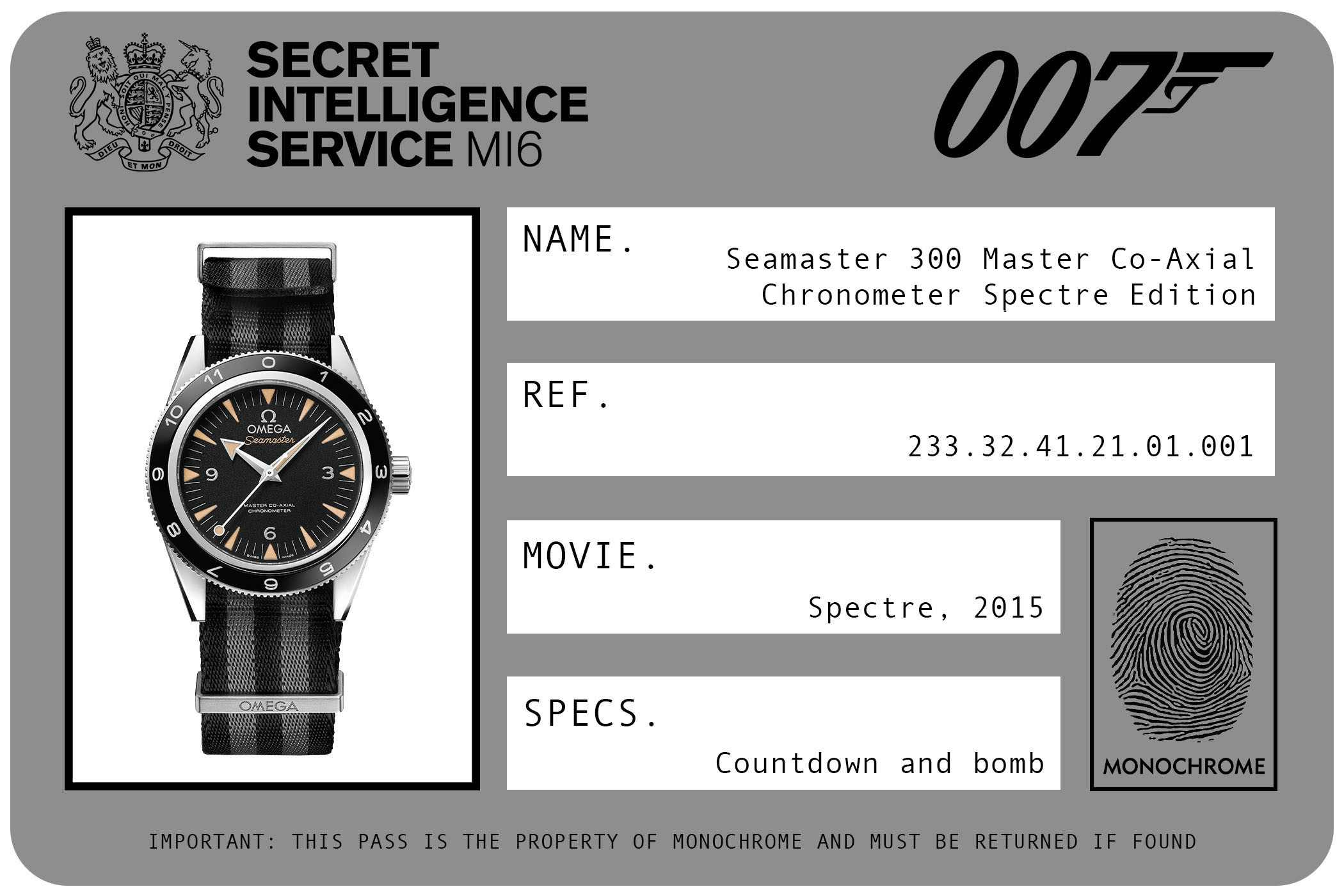 Omega Seamaster 300 Master Co-Axial Chronometer Spectre Edition 233.32.41.21.01.001 James Bond Spectre ID Card 2015