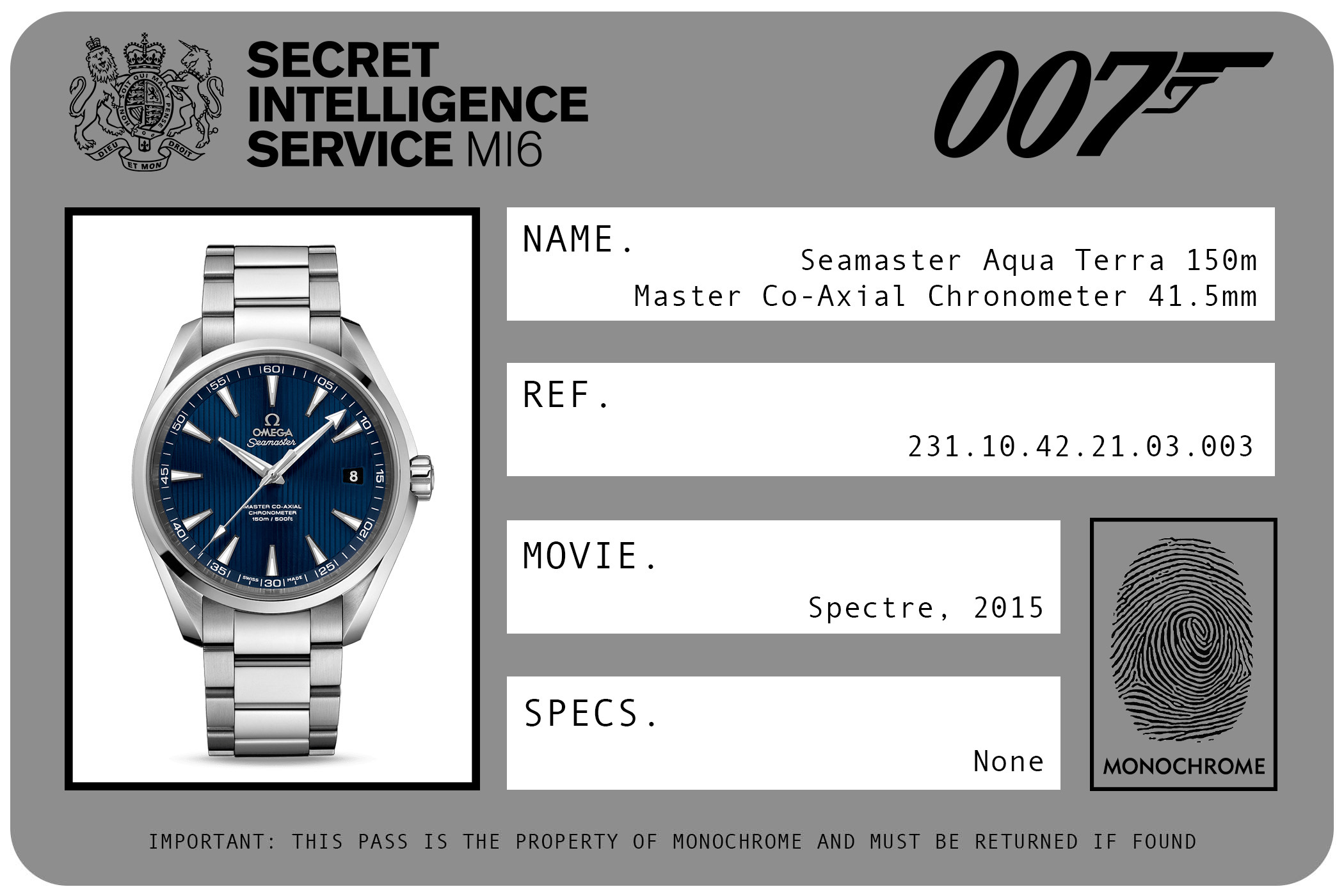 Omega Seamaster Aqua Terra 150m Master Co-Axial Chronometer 41.5mm 231.10.42.21.03.003 James Bond Spectre ID Card 2015