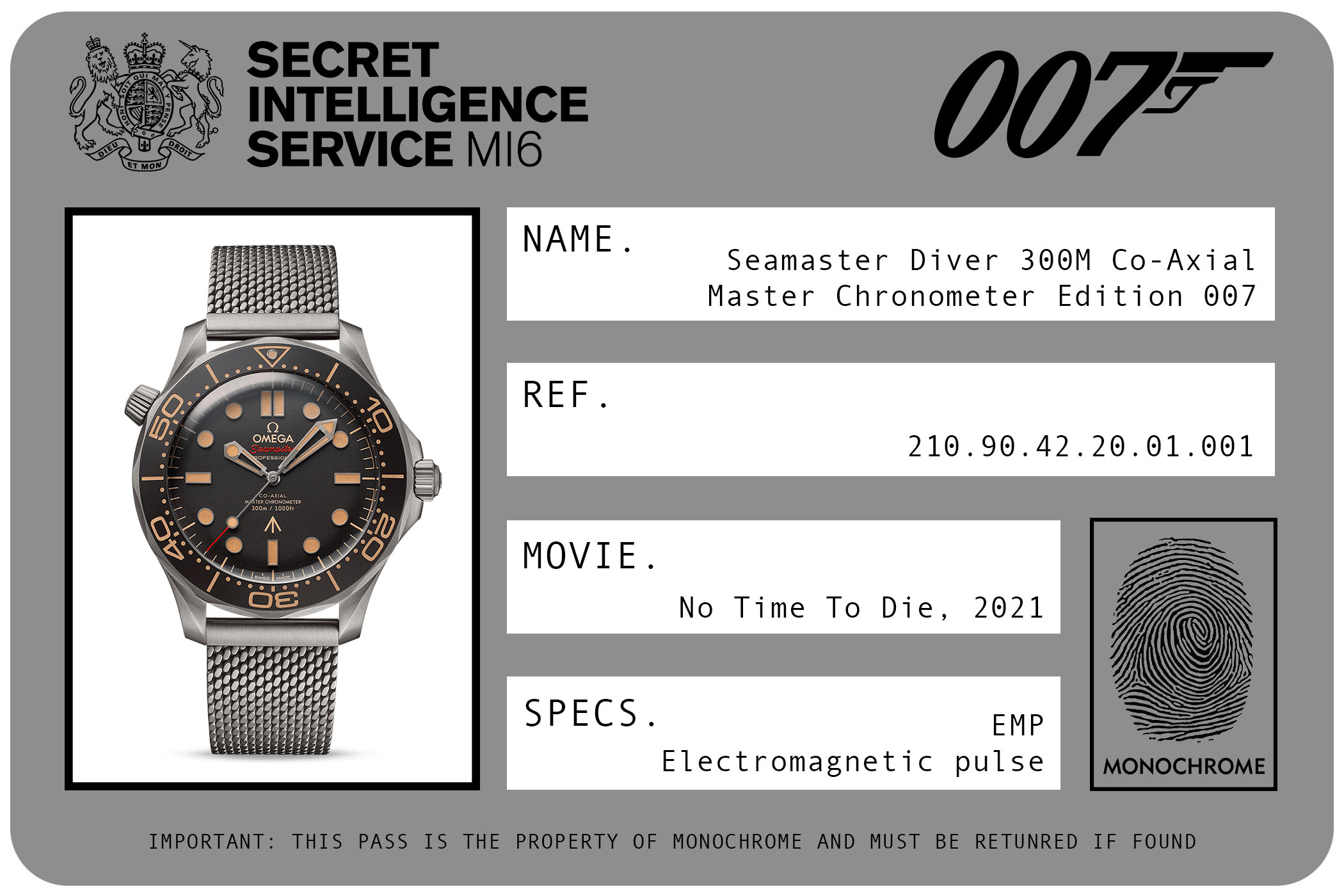2021 - Omega Seamaster Diver 300M Co-Axial Master-Chronometer Edition 007 Titanium 210.90.42.20.01.001 James Bond No Time To Die ID Card