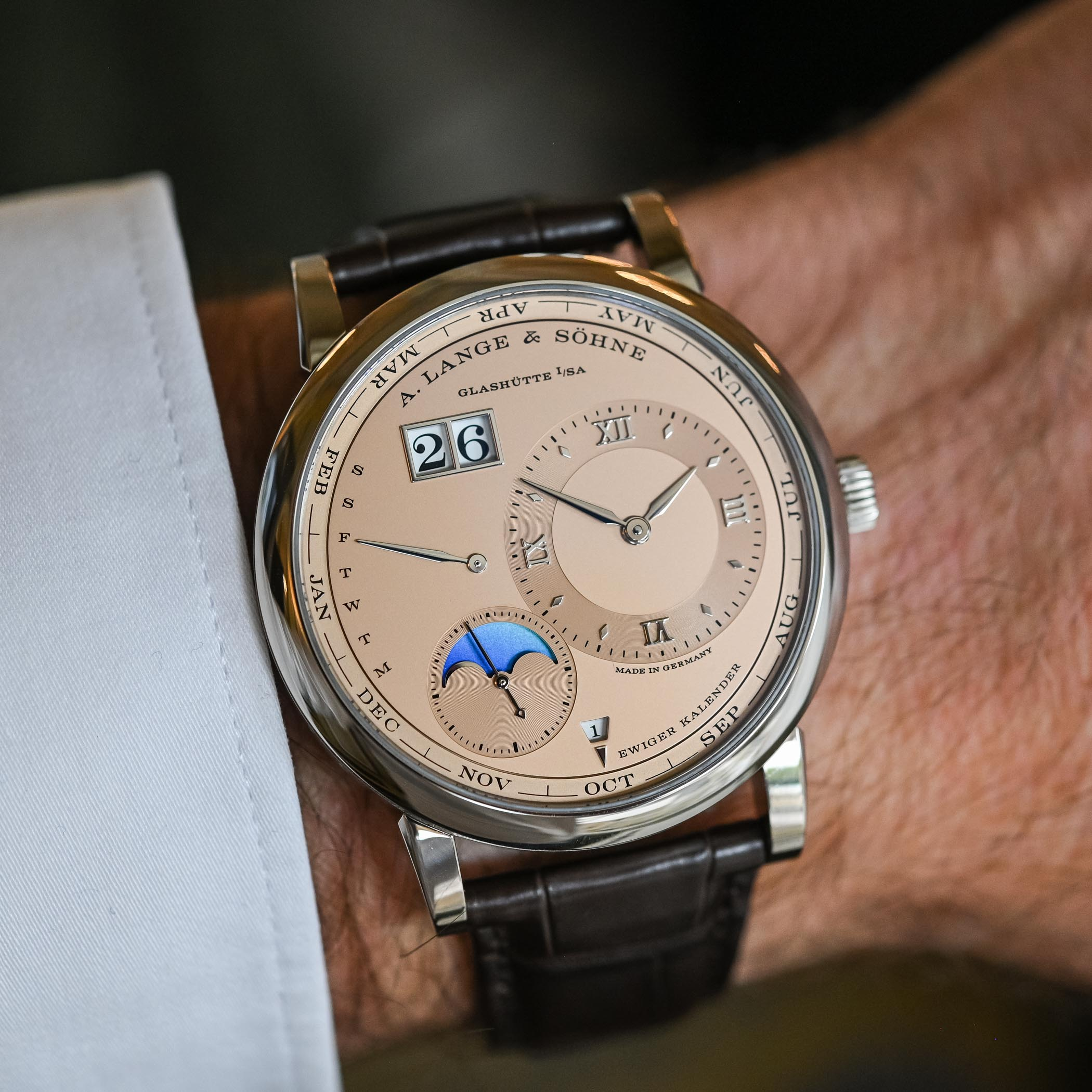 A. Lange & Söhne Lange 1 Perpetual Calendar White Gold Case Salmon Pink Gold Dial Limited Edition