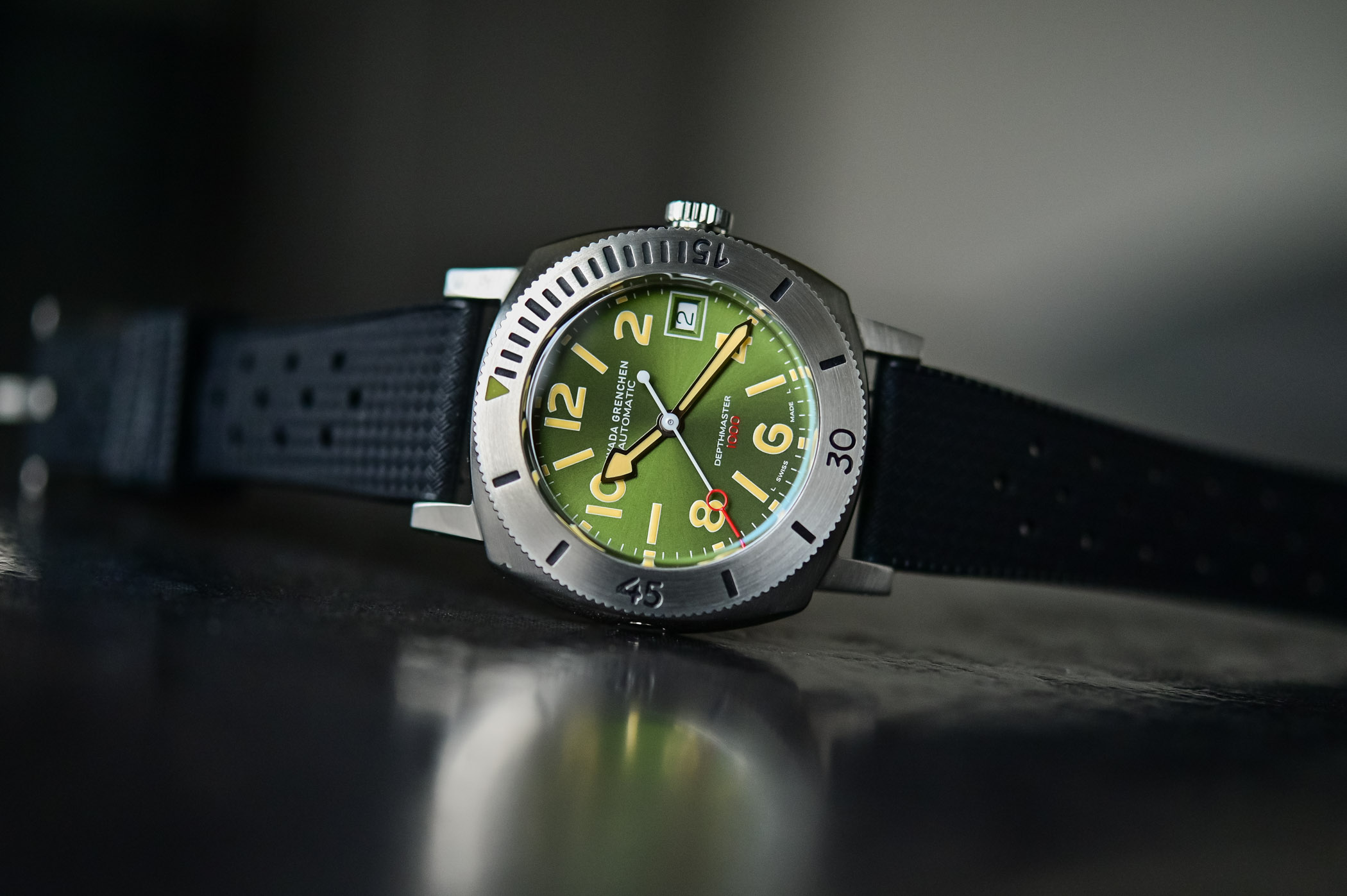 Nivada Grenchen Depthmaster Green Numerals Date 14103A09 - value proposition dive watch